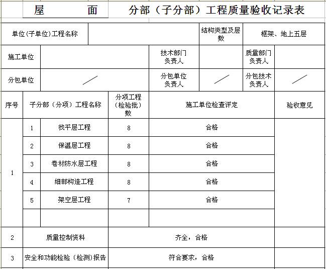 分部工程质量验收记录表(屋面)