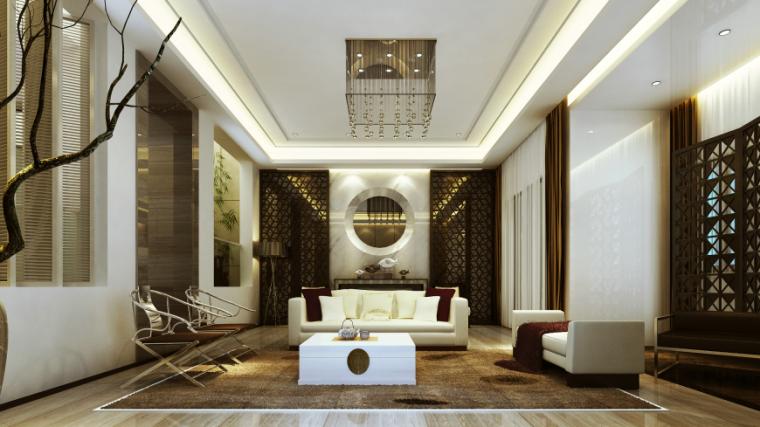 现代中式风格别墅设计CAD施工图(含效果图)_8