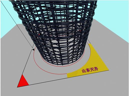 木质圆柱模板定位放线模拟