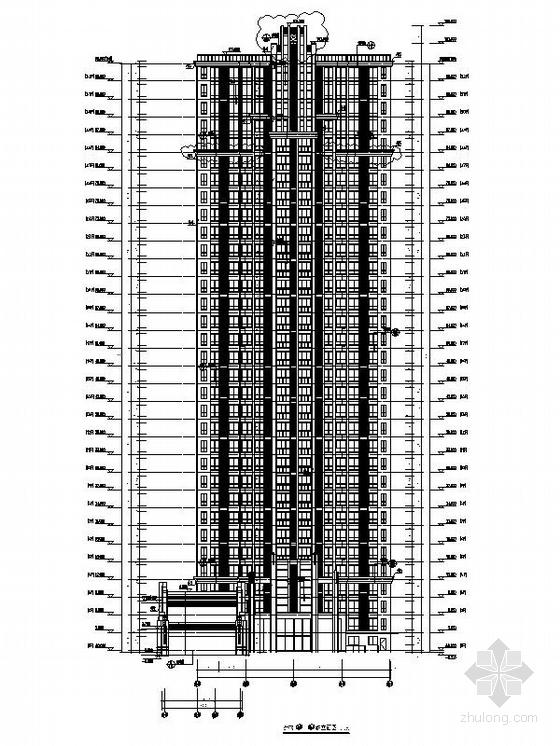 [四川]一级高层框架剪力墙结构塔式住宅楼建筑施工图(含两套方案)-一级高层框架剪力墙结构塔式住宅楼建筑立面图