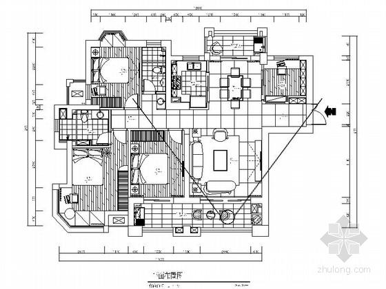 [福州]繁华商圈区东南亚风格四居室装修施工图(含效果)
