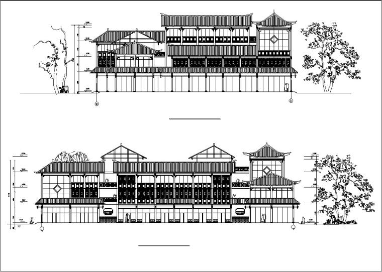 3套中式仿古建筑设计施工图CAD