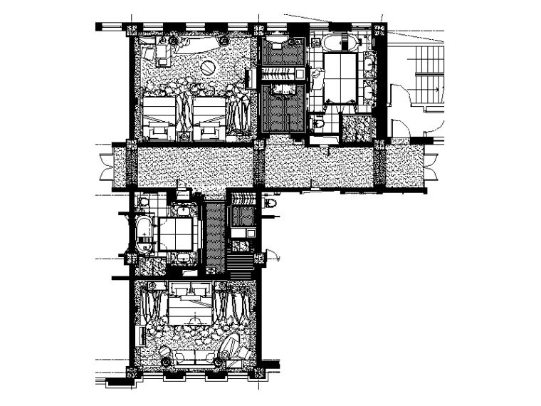 【上海】高端酒店套房整套CAD施工图平面图-高端酒店套房整套CAD