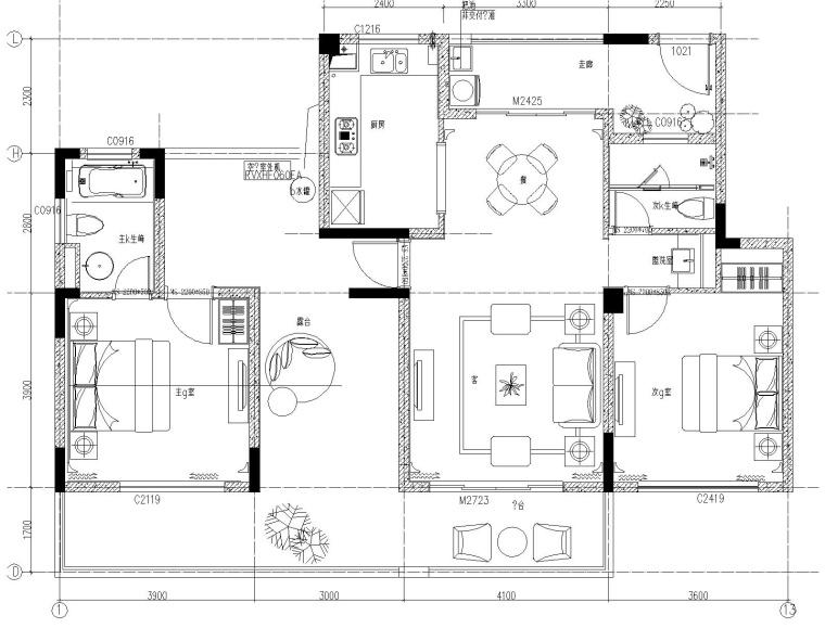[上海]葛亚曦-上海绿地启东项目两居室洋房样板间施工图+软装方案+效果图