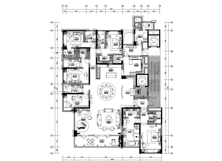 [重庆]琚宾HSD-重庆招商置地五居室豪宅样板间施工图+设计方案+效果图