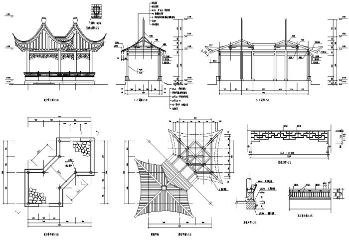设计说明:合集包含多个寺庙大殿,石桥,山门以及仿古建筑施工图片