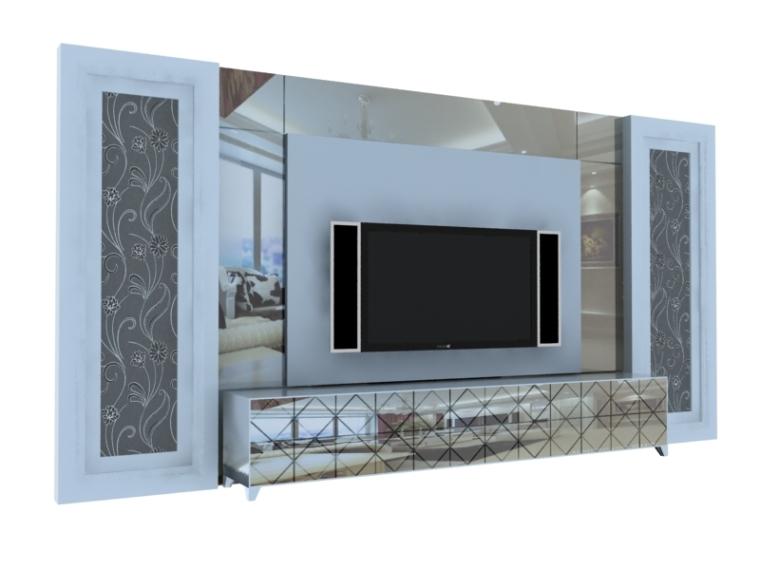 欧式时尚电视墙3D模型下载