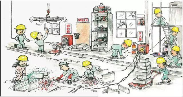 一幅施工漫画,教你认识施工现场的安全问题,你能看出几个?