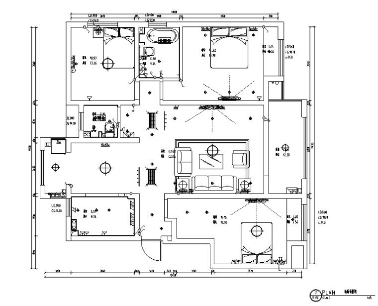 山湖一号白色素雅样板房设计施工图(附效果图)