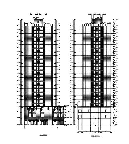 25层框架剪力墙结构综合楼建筑结构施工图-轴立面图2