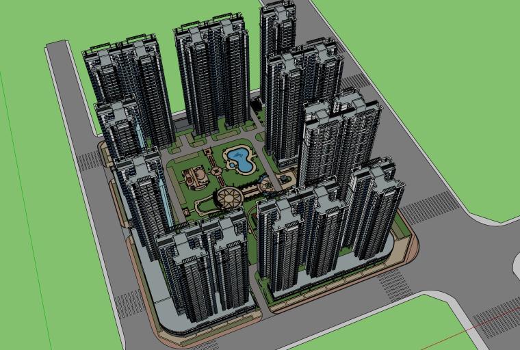 现代高层小区景观建筑设计模型
