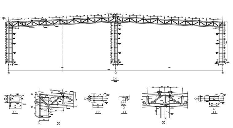 两跨钢桁架结构超市结构施工图(CAD,8张)