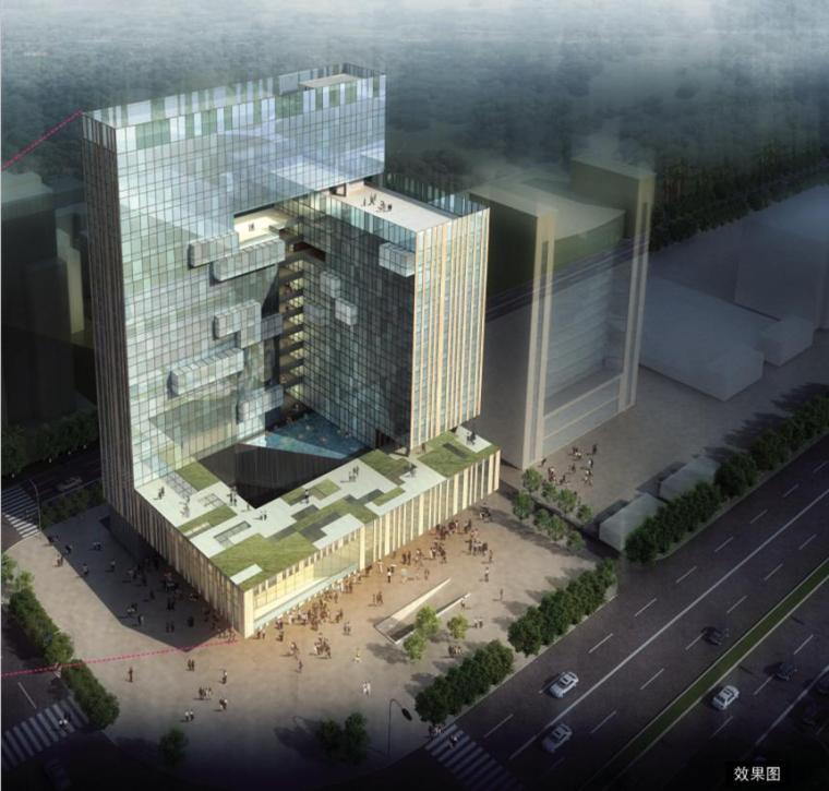 [广西]竖条间隔穿现代风格高层综合办公楼建筑设计方案文本