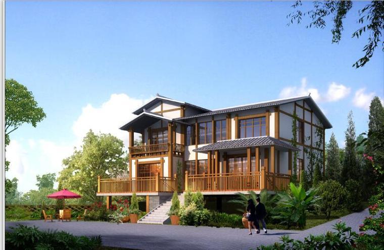 现代中式风格二层别墅建筑设计(效果图+施工图)