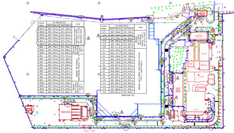 建筑、地表、地下管线沉降监测点布置图