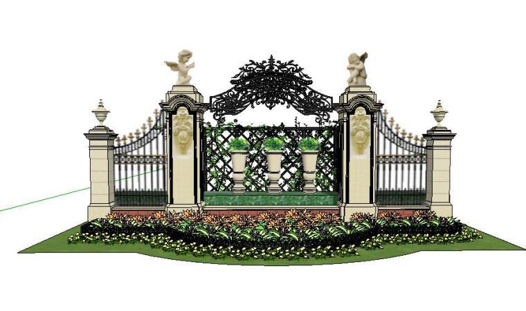 [景观SU模型]现代欧式景墙栏杆SU模型.skp