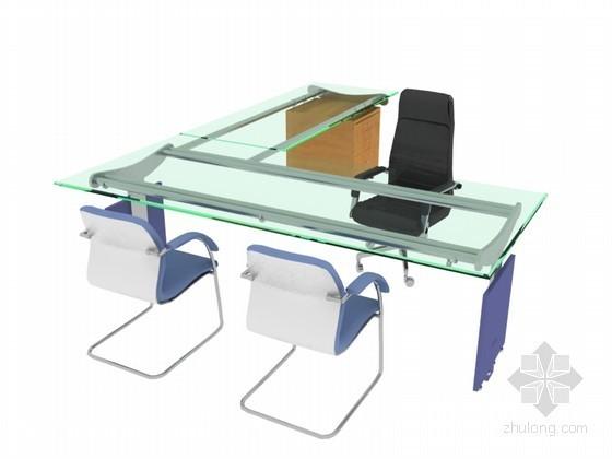 简洁办公桌3D模型下载