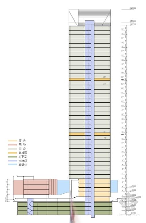 [广东]现代风格超高层商务办公建筑设计方案文本(含CAD)-现代风格超高层商务办公建筑剖面图