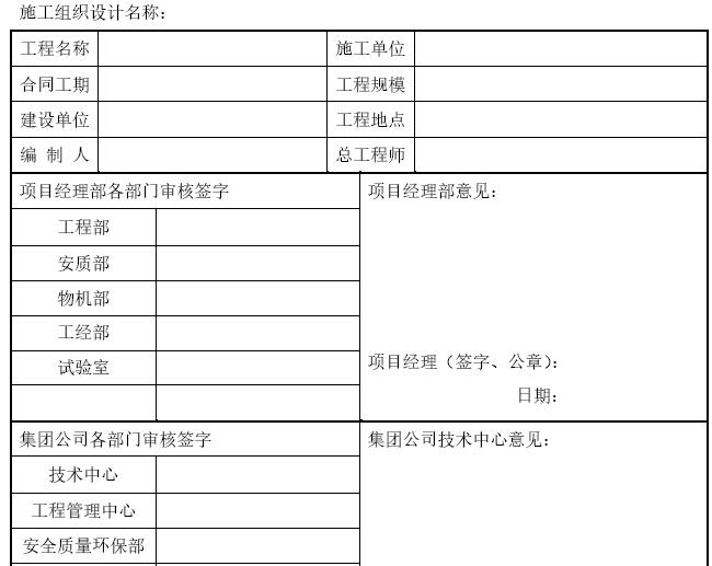 施工组织设计审批表