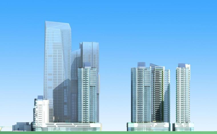超高层独栋式散点商业办公综合体建筑立面图