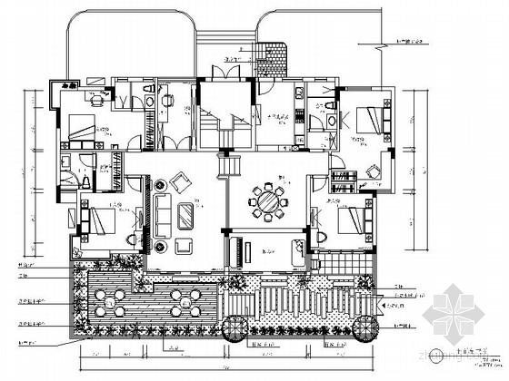 现代简约五居室全套室内装修施工图(含效果)