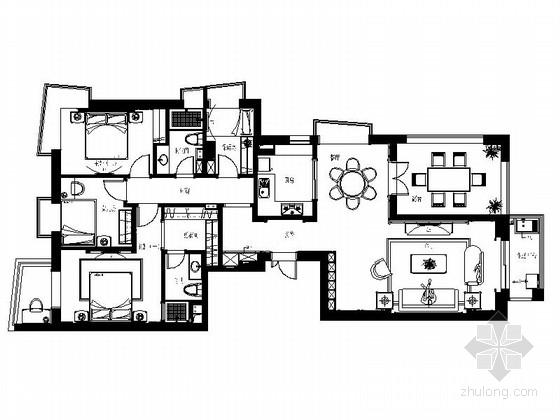 [福州]CBD核心区简欧四居室CAD装修图(含效果)