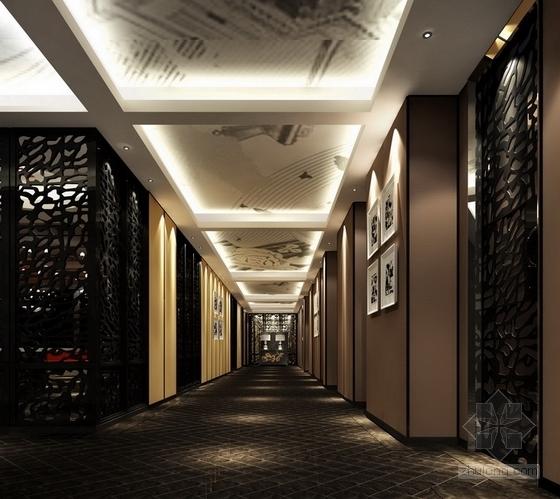 [杭州]现代新中式风格特色加盟连锁火锅店装修施工图(含效果)走廊立面图