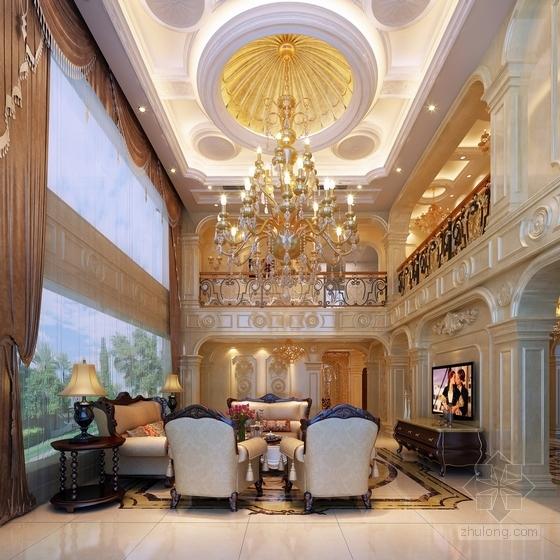 [江苏]欧式豪华顶尖独栋别墅CAD施工图(含效果图)客厅效果图
