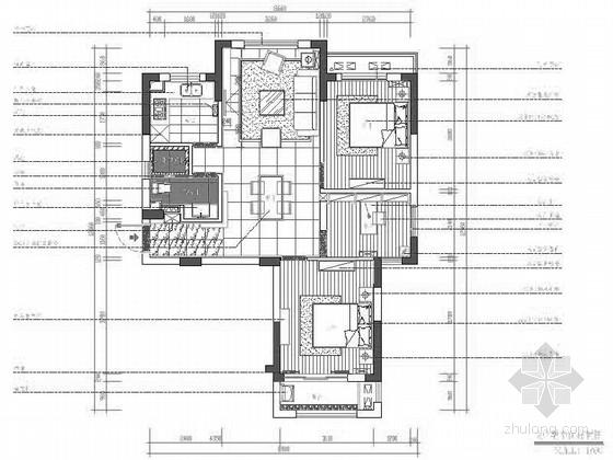 [浙江]理性黑白灰三居室室内CAD施工图(含实景图)