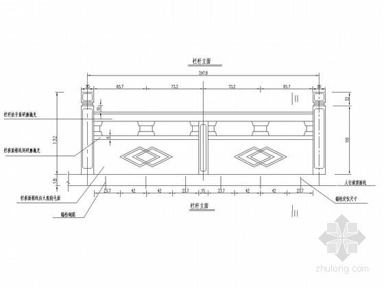 浅灰色草白玉石材桥梁栏杆设计图