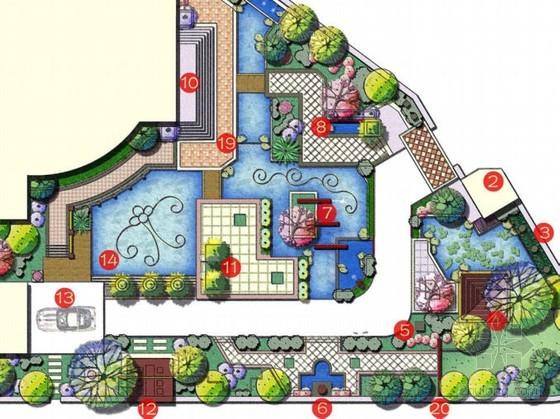 别墅样板房庭院景观设计方案图片