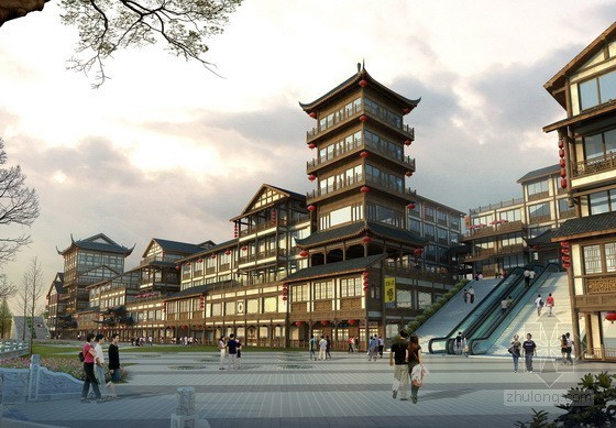 [仿古建]某特色风情商业街建筑方案文本(含CAD)