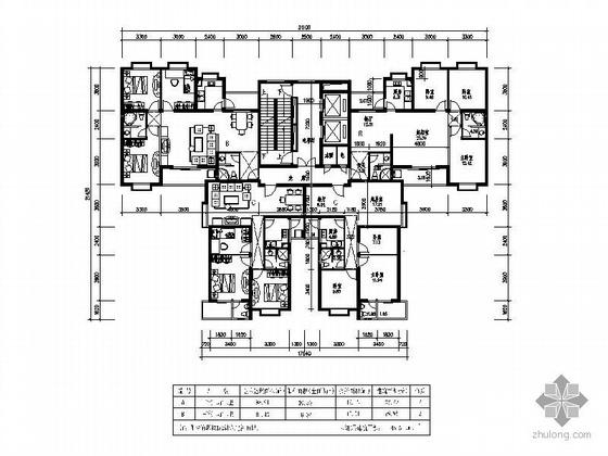 49套一梯四塔式住宅户型平面图
