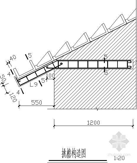 坡屋面L形挂瓦条节点详图