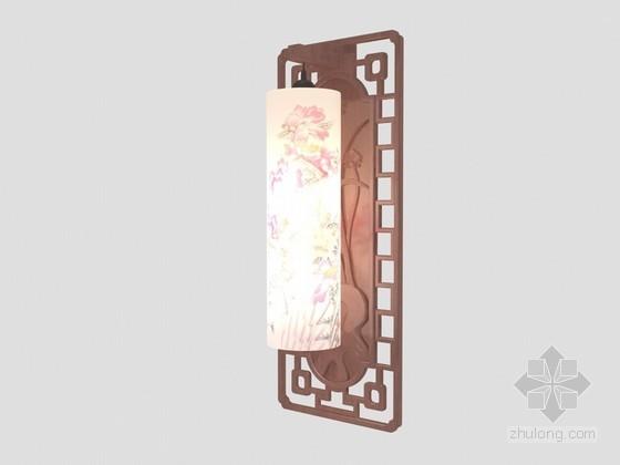 中式柱形壁灯3D模型下载