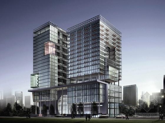 [浙江]25层玻璃幕墙办公楼建筑设计方案文本(含cad)