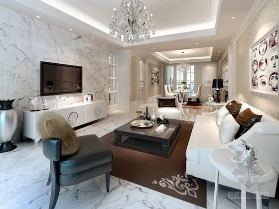 现代简约新古典客厅3d模型下载
