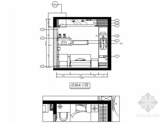 自然现代风格两居室样板房装修图(含效果)次卧立面图