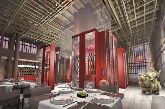 [广东]豪华温泉庭院别墅室内装修设计方案餐厅效果图