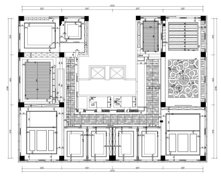[山东]混搭--黄海城市花园七层办公平面装修施工图+效果图-天花结构详图