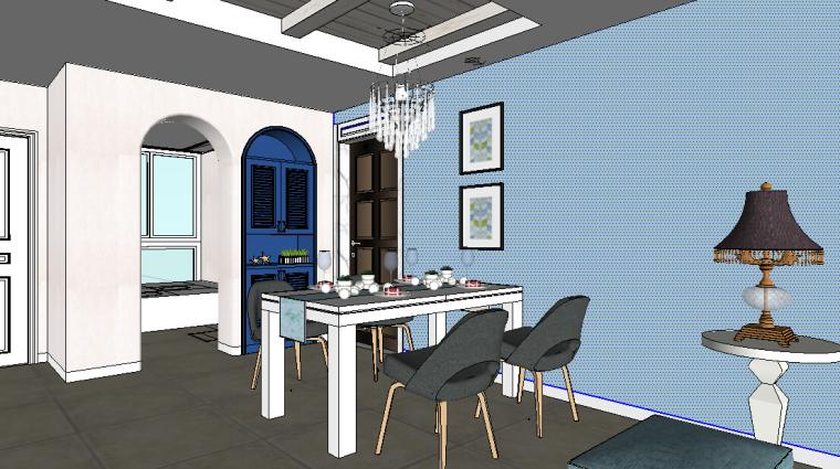 地中海风格公寓室内设计SU模型