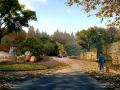 风景区道路交叉口景观效果图PSD分层素材