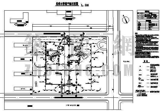 吉林某小区广场及其泵房给排水管道平面图
