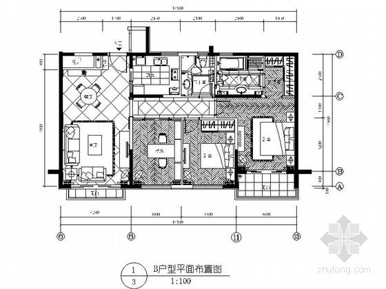 [厦门]某三室两厅样板房室内装修施工图