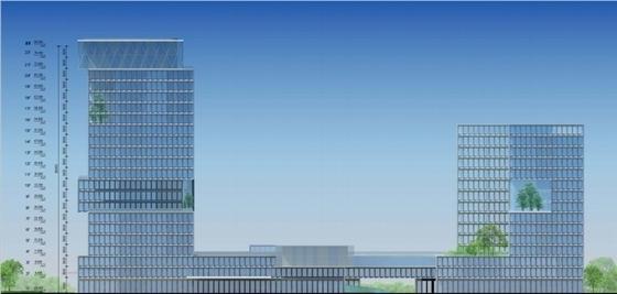 [广东]高层半围合式骑楼布局办公大厦建筑设计方案文本-高层半围合式骑楼布局办公大厦建筑立面图
