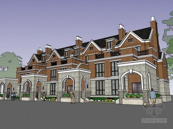 英式联排别墅sketchup模型下载
