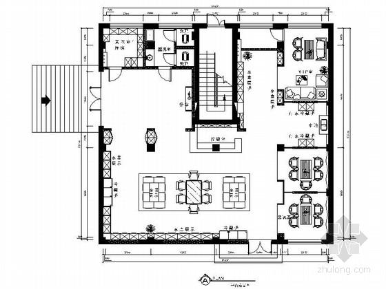 [大连]某中式茶馆室内装修施工图(含效果)