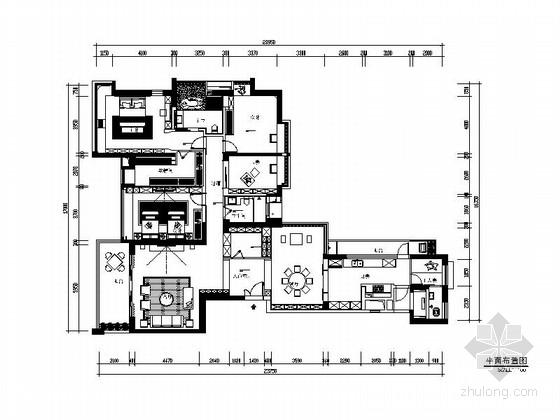 [深圳]高层住宅楼现代风格四居室装修施工图(含效果图)