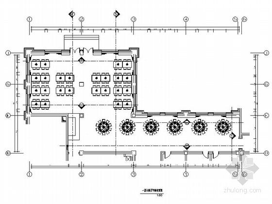 某高速公路服务区综合楼大餐厅装修施工图(含效果)