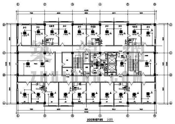 vrv办公楼空调设计资料下载-某办公楼VRV空调设计平面图
